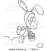 Vector of a Cartoon Boy Hopping in an Easter Bunny Costume - Outlined Coloring Page by Toonaday