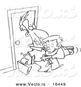 Vector of a Cartoon Boy Jumping on His Dad when He Arrives Home - Outlined Coloring Page Drawing by Toonaday