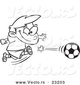 Vector of a Cartoon Boy Kicking a Soccer Ball - Coloring Page Outline by Toonaday