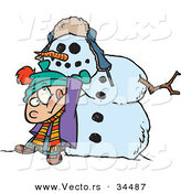 Vector of a Cartoon Boy Lifting Heavy Head on a Snowman's Body by Toonaday