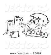 Vector of a Cartoon Boy Making a Sand Castle on a Beach - Outlined Coloring Page by Toonaday