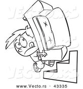 Vector of a Cartoon Boy Moving a Heavy Couch up Stairs - Coloring Page Outline by Toonaday