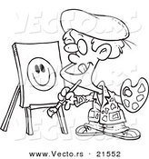 Vector of a Cartoon Boy Painting a Smiley Face - Outlined Coloring Page by Toonaday