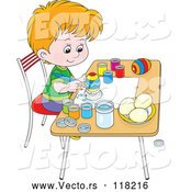 Vector of a Cartoon Boy Painting Easter Eggs by Alex Bannykh