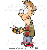 Vector of a Cartoon Boy Plaing with a Rubik's Cube by Toonaday