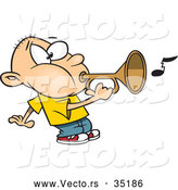 Vector of a Cartoon Boy Playing a Bugle Horn by Toonaday