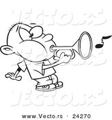 Vector of a Cartoon Boy Playing a Bugle - Outlined Coloring Page by Toonaday
