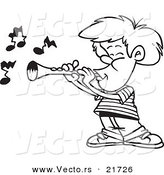 Vector of a Cartoon Boy Playing a Clarinet - Outlined Coloring Page by Toonaday