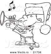 Vector of a Cartoon Boy Playing Christmas Music on a Trumpet - Outlined Coloring Page by Toonaday