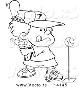 Vector of a Cartoon Boy Playing Tee Ball - Coloring Page Outline by Toonaday