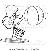 Vector of a Cartoon Boy Playing with a Beach Ball in the Water - Outlined Coloring Page by Ron Leishman