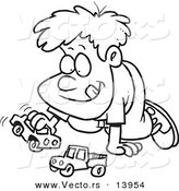 Vector of a Cartoon Boy Playing with Toy Cars - Coloring Page Outline by Toonaday