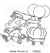 Vector of a Cartoon Boy Pulling a Pumpkin in a Wagon - Outlined Coloring Page by Toonaday