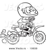 Vector of a Cartoon Boy Riding a Dirt Bike - Outlined Coloring Page by Toonaday