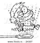 Vector of a Cartoon Boy Running Through Sprinklers - Outlined Coloring Page by Ron Leishman