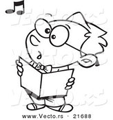 Vector of a Cartoon Boy Singing in Choir - Outlined Coloring Page by Toonaday
