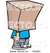Vector of a Cartoon Boy Standing with a Bag over His Head by Toonaday