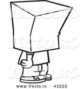 Vector of a Cartoon Boy Standing with a Bag over His Head - Coloring Page Outline by Ron Leishman
