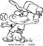 Vector of a Cartoon Boy Tossing and Catching a Baseball - Outlined Coloring Page Drawing by Toonaday