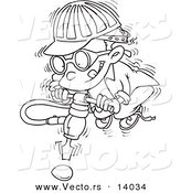 Vector of a Cartoon Boy Trying to Use a Jackahmmer on an Umbreakable Egg - Coloring Page Outline by Toonaday