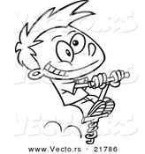 Vector of a Cartoon Boy Using a Pogo Stick - Outlined Coloring Page by Toonaday
