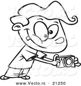 Vector of a Cartoon Boy Using His Camera - Coloring Page Outline by Toonaday