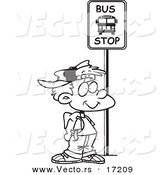 Vector of a Cartoon Boy Waiting at a School Bus Stop - Coloring Page Outline by Toonaday