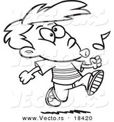 Vector of a Cartoon Boy Walking and Whistling - Outlined Coloring Page by Toonaday