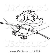 Vector of a Cartoon Boy Walking on a Tight Rope - Coloring Page Outline by Toonaday