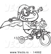 Vector of a Cartoon Boy Wearing a Cape and Goggles While Riding His Trike - Coloring Page Outline by Toonaday