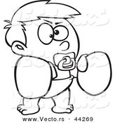 Vector of a Cartoon Boy Wearing Boxing Gloves and Sucking a Pacifier - Coloring Page Outline by Toonaday