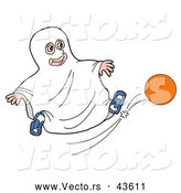 Vector of a Cartoon Boy Wearing Sheet Ghost Costume While Kicking a Ball by LaffToon