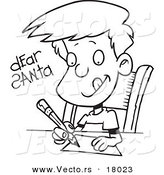 Vector of a Cartoon Boy Writing a Dear Santa Letter - Outlined Coloring Page by Toonaday