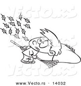 Vector of a Cartoon Breeze Blowing More Leaves on the Ground for a Boy to Rake up - Coloring Page Outline by Toonaday