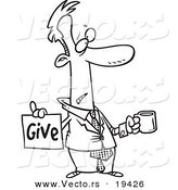 Vector of a Cartoon Broke Businessman Holding a Cup and Give Sign - Outlined Coloring Page by Toonaday