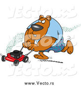 Vector of a Cartoon Brown Bear Mowing His Lawn by Ron Leishman