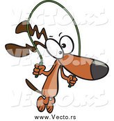 Vector of a Cartoon Brown Dog Jumping Rope by Toonaday