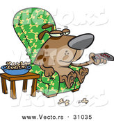 Vector of a Cartoon Brown Dog Munching on Bones and Watching Tv by Toonaday