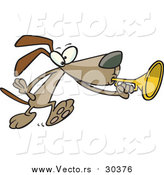 Vector of a Cartoon Brown Dog Playing a Horn by Ron Leishman