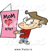 Vector of a Cartoon Brunette White Boy Holding a Mothers Day Card by Toonaday
