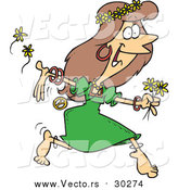 Vector of a Cartoon Brunette White Hippie Woman Running with Flowers by Toonaday