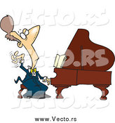 February 6th, 2015: Vector of a Cartoon Brunette White Male Fancy Pianist by Ron Leishman