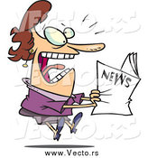 March 30th, 2015: Vector of a Cartoon Brunette White Woman Reading Exciting News by Toonaday
