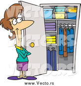 March 9th, 2015: Vector of a Cartoon Brunette White Woman with a Clean Closet by Ron Leishman