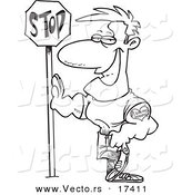 Vector of a Cartoon Buff Man Leaning Against a Stop Sign - Coloring Page Outline by Toonaday