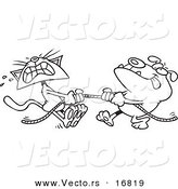 Vector of a Cartoon Bull Dog and Cat Playing Tug of War - Coloring Page Outline by Toonaday