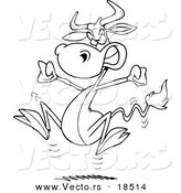 Vector of a Cartoon Bull Having a Cow - Outlined Coloring Page by Toonaday