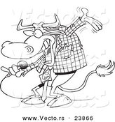 Vector of a Cartoon Bull Host - Coloring Page Outline by Ron Leishman