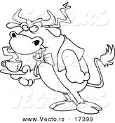 Vector of a Cartoon Bull Waiter Serving Coffee - Coloring Page Outline by Toonaday