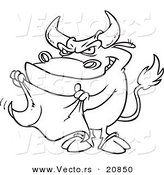 Vector of a Cartoon Bull Waving a Cape - Coloring Page Outline by Toonaday